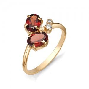 Кольцо из красного золота 585 пробы с полудрагоценными камнями арт. 11-11-101