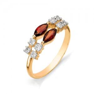 Кольцо из красного золота 585 пробы с полудрагоценными камнями арт. 11-11-131