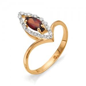 Кольцо из красного золота 585 пробы с полудрагоценными камнями арт. 11-11-166