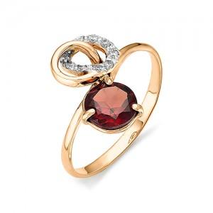 Кольцо из красного золота 585 пробы с полудрагоценными камнями арт. 11-11-172