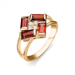 Кольцо из красного золота 585 пробы с полудрагоценными камнями арт. 11-11-199