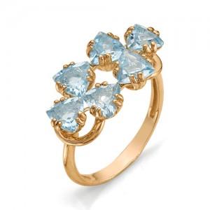 Кольцо из красного золота 585 пробы с полудрагоценными камнями арт. 11-10-237