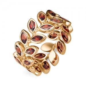 Кольцо из красного золота 585 пробы с полудрагоценными камнями арт. 11-11-304