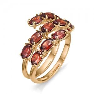 Кольцо из красного золота 585 пробы с полудрагоценными камнями арт. 11-22-306