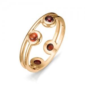 Кольцо из красного золота 585 пробы с полудрагоценными камнями арт. 11-22-308