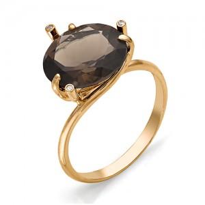 Кольцо из красного золота 585 пробы с полудрагоценными камнями арт. 11-14-060