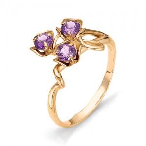 Кольцо из красного золота 585 пробы с полудрагоценными камнями арт. 11-13-156
