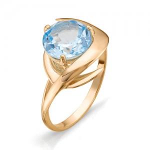 Кольцо из красного золота 585 пробы с полудрагоценными камнями арт. 11-10-196