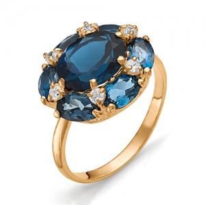 Кольцо из красного золота 585 пробы с полудрагоценными камнями арт. 11-19-222