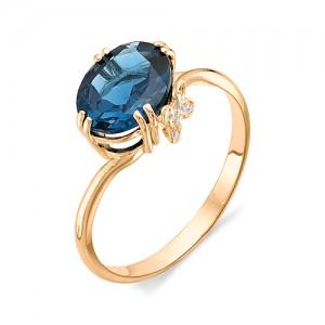 Кольцо из красного золота 585 пробы с полудрагоценными камнями арт. 11-19-255