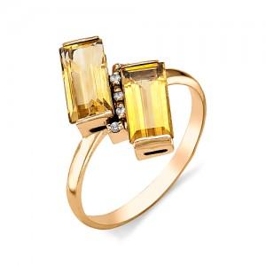 Кольцо из красного золота 585 пробы с полудрагоценными камнями арт. 11-15-152