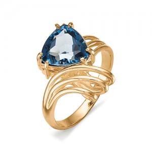 Кольцо из красного золота 585 пробы с полудрагоценными камнями арт. 11-19-177