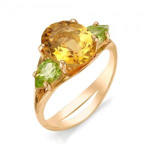 Кольцо из красного золота 585 пробы с полудрагоценными камнями арт. 11-22-235