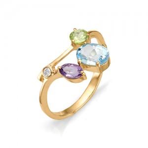 Кольцо из красного золота 585 пробы с полудрагоценными камнями арт. 11-22-110