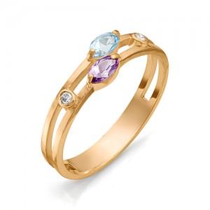 Кольцо из красного золота 585 пробы с полудрагоценными камнями арт. 11-22-112