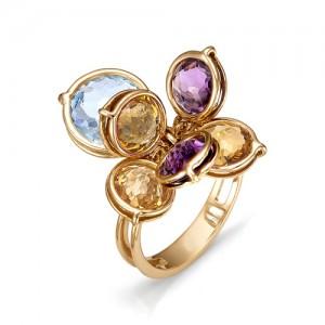 Кольцо из красного золота 585 пробы с полудрагоценными камнями арт. 11-22-164