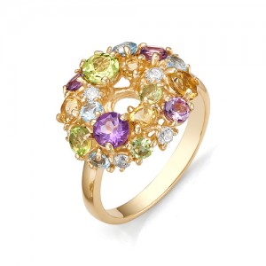 Кольцо из красного золота 585 пробы с полудрагоценными камнями арт. 11-22-170
