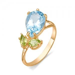 Кольцо из красного золота 585 пробы с полудрагоценными камнями арт. 11-22-246