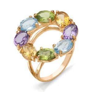 Кольцо из красного золота 585 пробы с полудрагоценными камнями арт. 11-22-252-2