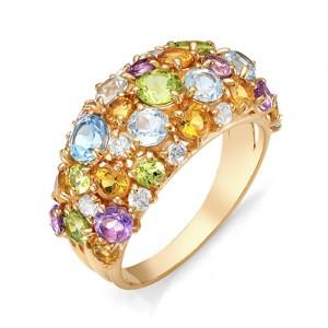 Кольцо из красного золота 585 пробы с полудрагоценными камнями арт. 11-22-265