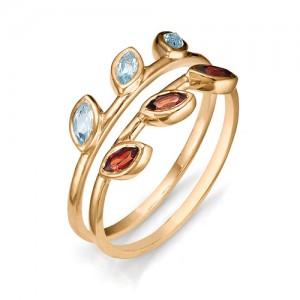 Кольцо из красного золота 585 пробы с полудрагоценными камнями арт. 11-22-302