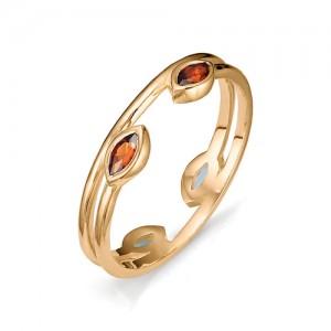 Кольцо из красного золота 585 пробы с полудрагоценными камнями арт. 11-22-303