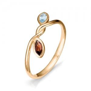 Кольцо из красного золота 585 пробы с полудрагоценными камнями арт. 11-22-309