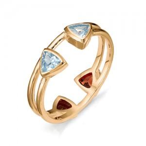 Кольцо из красного золота 585 пробы с полудрагоценными камнями арт. 11-22-326