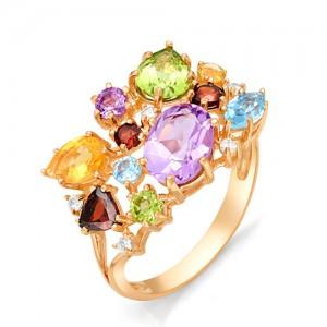 Кольцо из красного золота 585 пробы с полудрагоценными камнями арт. 11-22-330