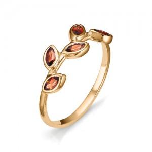 Кольцо из красного золота 585 пробы с полудрагоценными камнями арт. 11-22-301