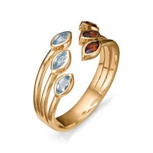 Кольцо из красного золота 585 пробы с полудрагоценными камнями арт. 11-22-307