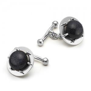Запонки из серебра 925 пробы с Авантюрином черным, арт.12-3-26-003