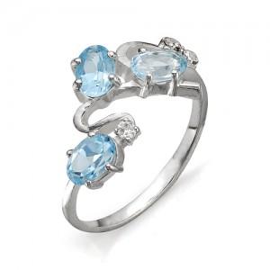 Кольцо из серебра 925 пробы с полудрагоценными камнями арт. 13-10-027