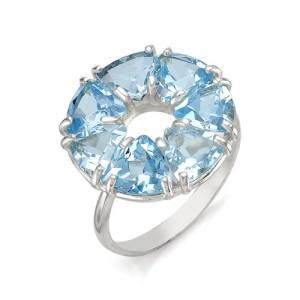 Кольцо из серебра 925 пробы с полудрагоценными камнями арт. 13-10-212