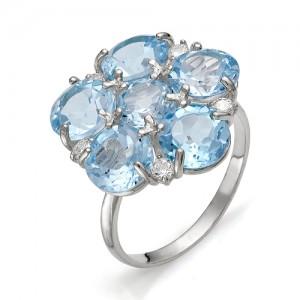 Кольцо из серебра 925 пробы с полудрагоценными камнями арт. 13-10-242