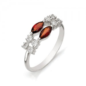 Кольцо из серебра 925 пробы с полудрагоценными камнями арт. 13-11-131