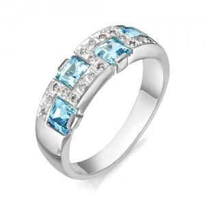 Кольцо из серебра 925 пробы с полудрагоценными камнями арт. 13-10-007
