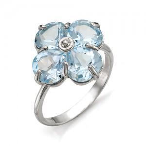 Кольцо из серебра 925 пробы с полудрагоценными камнями арт. 13-10-245