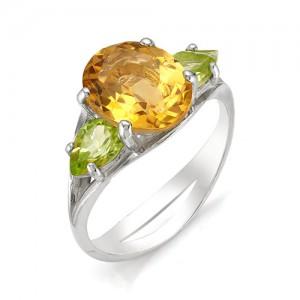 Кольцо из серебра 925 пробы с полудрагоценными камнями арт. 13-22-235