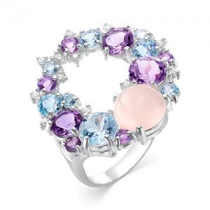 Кольцо из серебра 925 пробы с полудрагоценными камнями  арт. 13-22-371