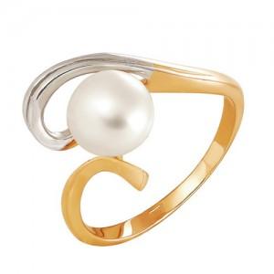 Кольцо из красного золота 585 пробы с жемчугом