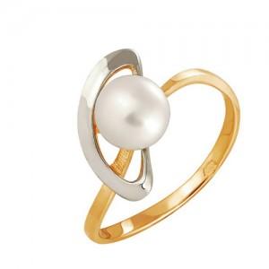 Кольцо из красного золота 585 пробы с жемчугом арт. 190-1-275