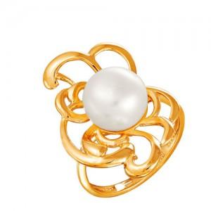 Кольцо из красного золота 585 пробы с жемчугом арт. 190-1-338