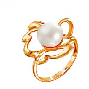 Кольцо из красного золота 585 пробы с жемчугом арт. 190-1-342