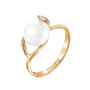 Кольцо из красного золота 585 пробы с жемчугом арт. 190-1-345Р