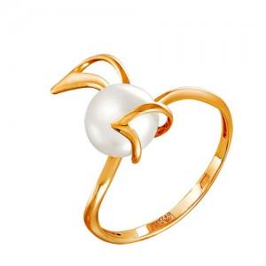 Кольцо из красного золота 585 пробы с жемчугом арт. 190-1-353