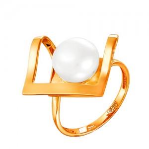 Кольцо из красного золота 585 пробы с жемчугом арт. 190-1-361