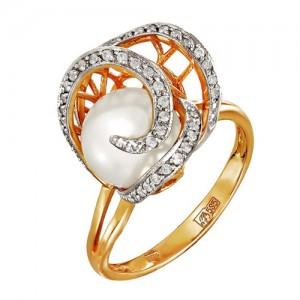 Кольцо из красного золота 585 пробы с жемчугом арт. 190-1-362Р