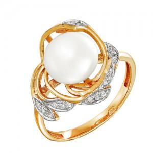 Кольцо из красного золота 585 пробы с жемчугом арт. 190-1-389Р
