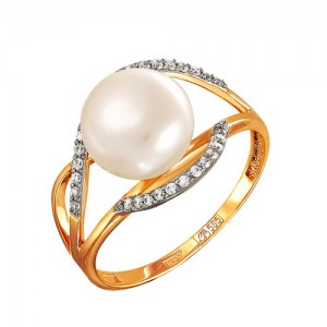 Кольцо из красного золота 585 пробы с жемчугом арт. 190-1-428Р